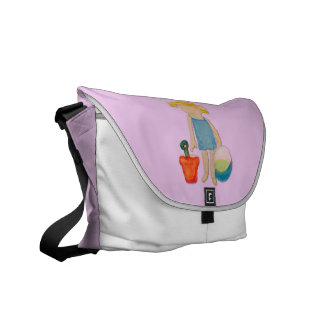 Baby Girl on Summer Beach Birthday Rose Pink Stamp Commuter Bags