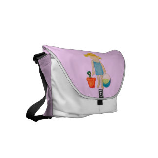 Baby Girl on Summer Beach Birthday Rose Pink Stamp Messenger Bag