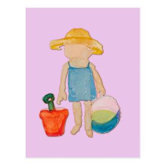 Baby Girl on Summer Beach Birthday Rose Pink Stamp Postcard