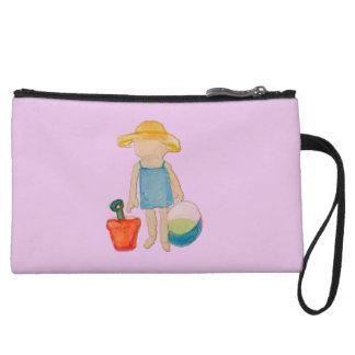 Baby Girl on Summer Beach Birthday Rose Pink Stamp Wristlet Purse