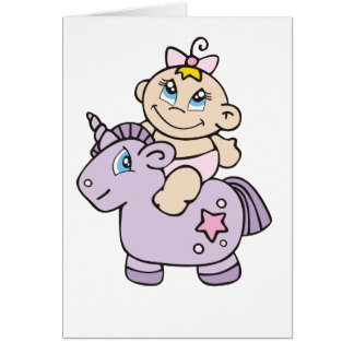 Baby Girl on Unicorn Greeting Card