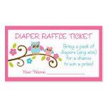 Baby Girl Owl Diaper Raffle Tickets