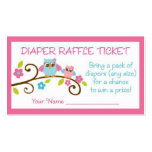 Baby Girl Owl Diaper Raffle Tickets Pack Of Standard Business Cards