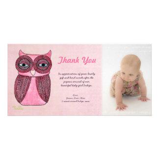 Baby Girl Owl Thank You Photo Template Photocard Custom Photo Card
