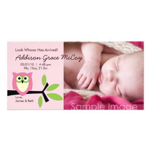 Baby Girl Owl Theme Birth Announcement Photo Card