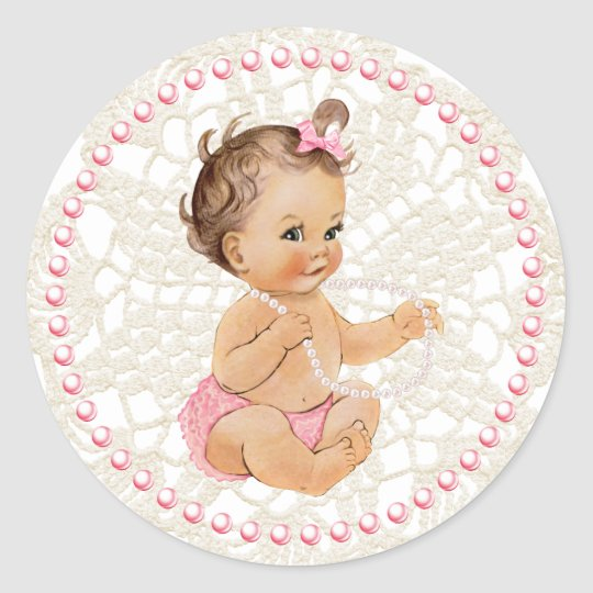 Baby Girl. Pearls and Lace Sticker