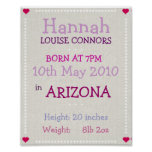 Baby Girl personalised date of birth print