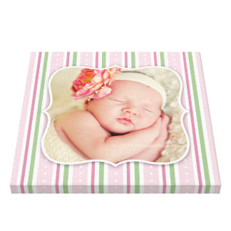 Baby Girl Photo [12x12 Inches] Stretched Canvas Print