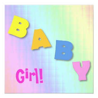 BABY Girl Photo Birth Announcement Card