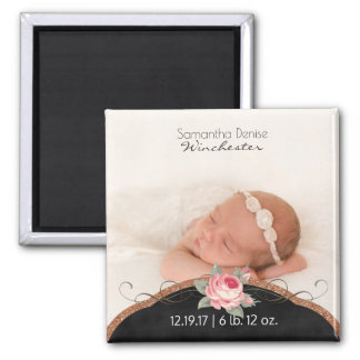 Baby Girl Photo Birth Announcement | Rose Glitter Square Magnet
