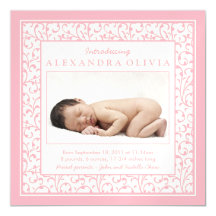 Baby Girl Photo Damask Floral Birth Announcement