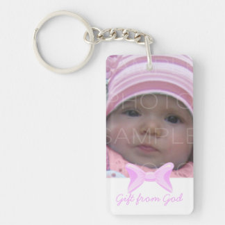 Baby girl Photo Gift from God Pink bow Bible verse Double-Sided Rectangular Acrylic Keychain