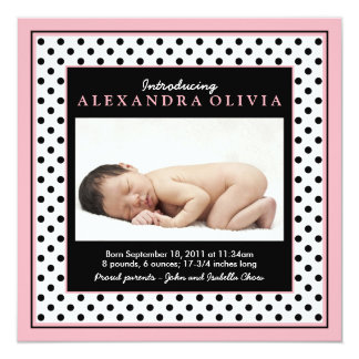 Baby Girl Photo Polka Dot Birth Announcement