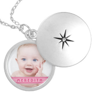 Baby Girl Photo Template Name Locket Necklace