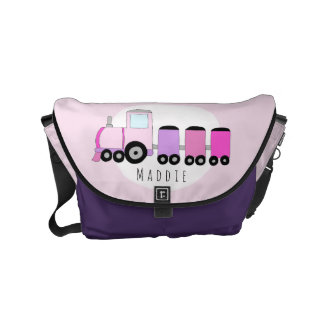 Baby Girl Pink and Purple Train with Name Diaper Courier Bag
