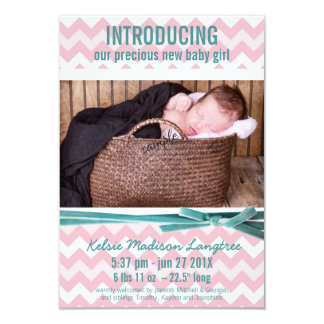 Baby Girl Pink and Teal Chevron Photo 9 Cm X 13 Cm Invitation Card
