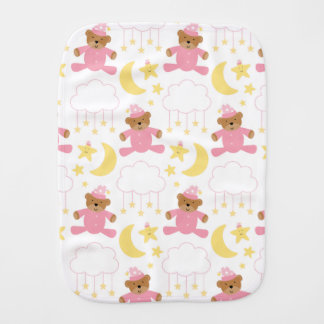 Baby Girl Pink and White Cute Burp Cloth
