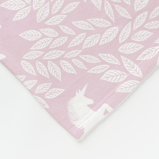 Baby Girl Pink and White Unicorn Pattern Fleece