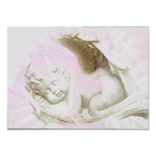 Baby Girl Pink Angelic Wings Poster - Customize