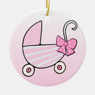 Baby Girl Pink Baby Buggy Christmas Ornament