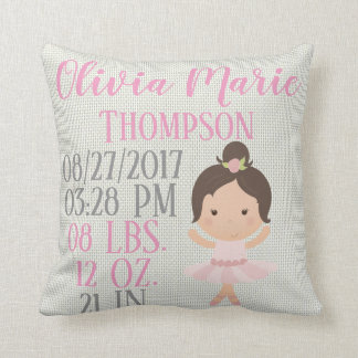 Baby Girl Pink Ballerina Ballet Dancer Birth Cushion