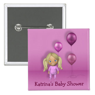Baby Girl & Pink Balloons - Baby Shower Button