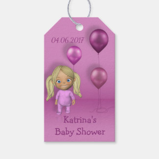 Baby Girl & Pink Balloons - Baby Shower Gift Tag
