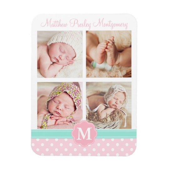 Baby Girl Pink Birth Keepsake Personalised Photo Magnet