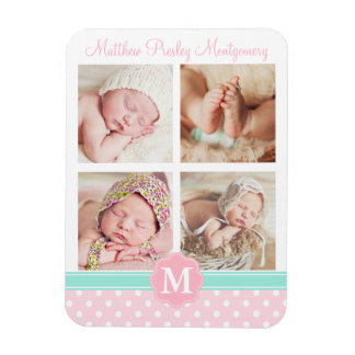 Baby Girl Pink Birth Keepsake Personalized Photo Rectangular Photo Magnet