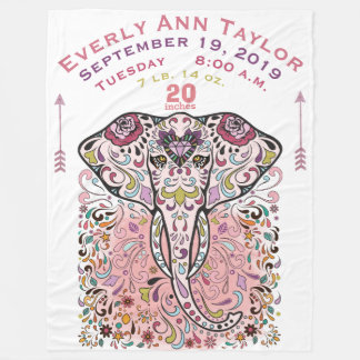 Baby Girl Pink Birth Record Stats Elephant Fleece Blanket