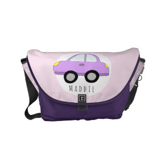 Baby Girl Pink Car with Name Diaper Commuter Bag