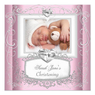 Baby Girl Pink Christening Baptism Cross White 13 Cm X 13 Cm Square Invitation Card
