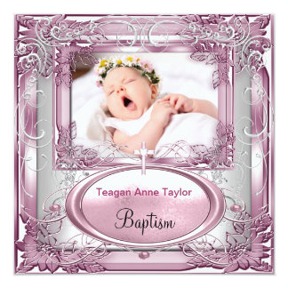 Baby Girl Pink Christening Baptism Cross White Personalized Announcements