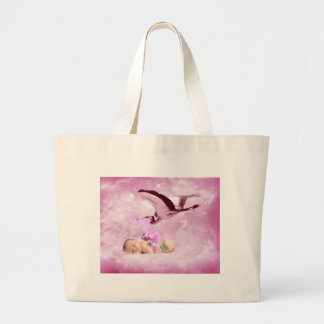 Baby girl pink clouds and stork bag