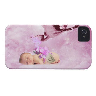 Baby girl pink clouds and stork case iPhone 4 case