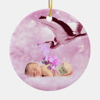 Baby girl pink clouds and stork christmas ornament