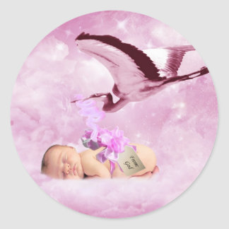 Baby girl pink clouds and stork classic round sticker