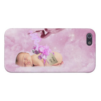 Baby girl pink clouds and stork iPhone 5 case