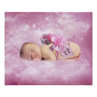 Baby girl pink clouds fantasy bedroom poster