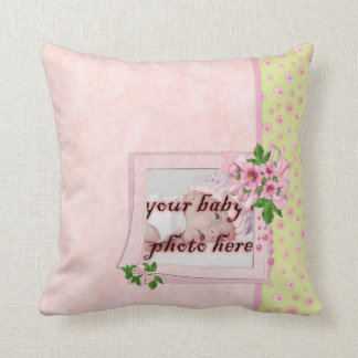 Baby Girl Pink Flowers Throw Pillow