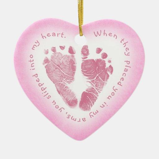 Baby Girl Pink Footprint Photo Ornament