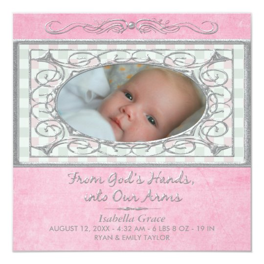 Baby Girl Pink Gingham Christian Photo Birth Card