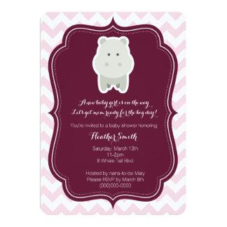 Baby Girl Pink Hippo Invitation