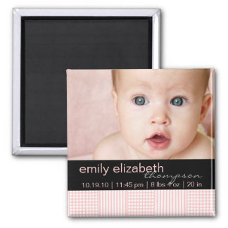 Baby Girl Pink Modern Photo Magnet
