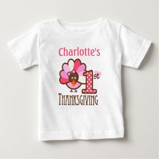 Baby Girl Pink My First Thanksgiving Shirt