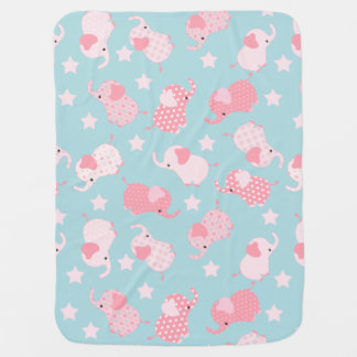 Baby Girl Pink Pattern Elephants Baby Blanket