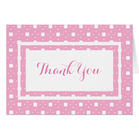 Baby Girl Pink Patterned Thank You Card