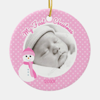 Baby Girl Pink Snowman First Christmas Photo Christmas Ornament