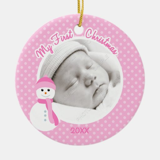 Baby Girl Pink Snowman First Christmas Photo Christmas Ornaments