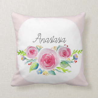 Baby Girl Pink Watercolor Flowers and Name Nursery Cushion